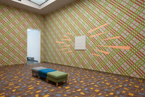 Installation view, Exhibition: Rien ne va plus, Wallpainting for Schoonhoven, 2009, Lily van der Stokker, Part of Play Van Abbe Part 1, Van Abbemuseum, Eindhoven. Photo: Peter Cox